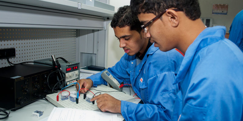 Engineering student doing electronics
