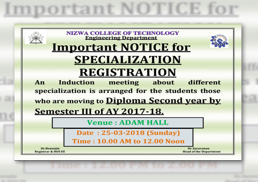 Engineering Specialization Registration